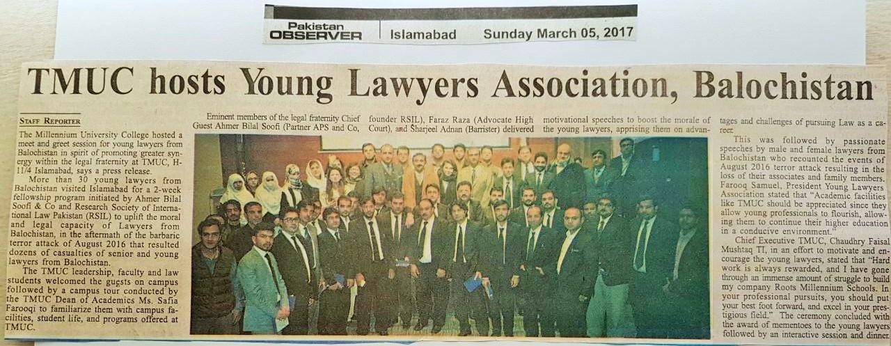 Baloch lawyers visit TMUC